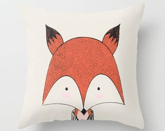 Fox Baby Decor, Fox Cushion, Fox Pillow, Baby Fox Print, Fox Baby Shower, Fox Nursery, Fox Decor, Baby Animal Fox
