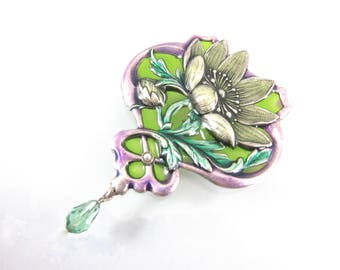 Large Vintage Catherine Popesco Green And Lavender Enamel Floral Brooch-Made In France