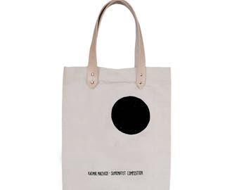 Tote Bag With leather straps - Screenprint Over Cotton Canvas Tote Bag Malevich