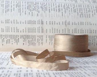 54 yard roll of taupe khaki silk ribbon