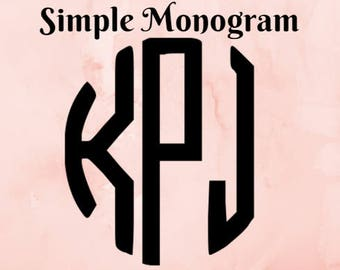 Simple Monogram! Customize Me! Several sizes to choose from!