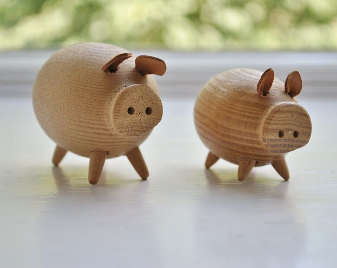 Swedish Modern Hand Carved Wooden Pigs Pair Leather Ears
