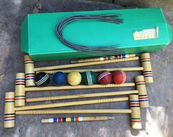 Vintage Forster Croquet Set -- Complete with Box -- Wood Mallets and Balls