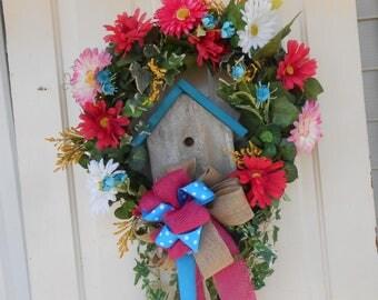 bright fun birhouse wreath front door back door indoor bird burlap bow wood , garden art , door hanger garden art , home decor