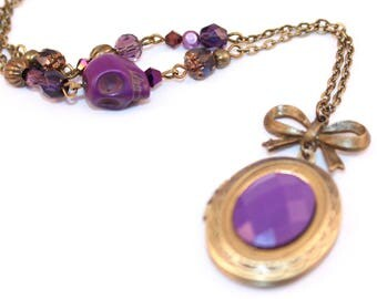 Long Locket necklace photo purple skull