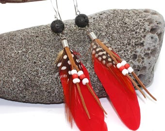 Red Feather and Beaded Earrings - Feather Earrings, Long Earrings, Feather Earrings, White Feather Earrings