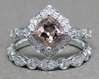 Petite 6mm Cushion Morganite Engagement Ring Diamond Kite Set 14k White Gold Wedding Bridal Ring Set 1 1/2ct