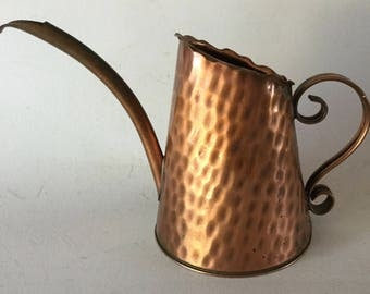 "Small Vintage GREGORIAN Hammered COPPER Watering Can 5 1/4"" x 7 3/4"" USA 1950s"