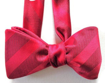 Silk Bow Tie for Men - Celebration Red - One-of-a-Kind, Self-tie - Free Shipping