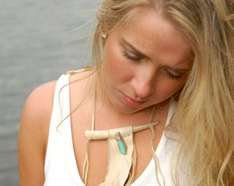 Turquoise and Antler Tribal necklace - Leather fringed necklace with turquoise