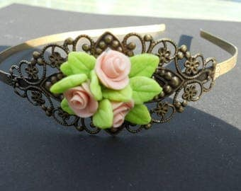 Pink filigree headband in cold porcelain