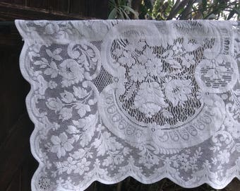 Vintage French Floral Net Lace Curtain Wide Filet Panel Scalloped Cotton Made Romantic Wedding Lace Panel #sophieladydeparis
