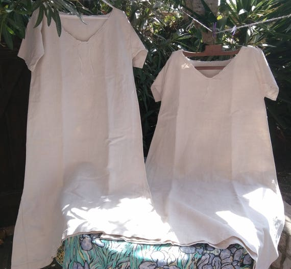 Long Rustic Victorian 1850's Metis Linen Shirt Handmade French Farmhouse Dress Medium Large Primitive Nightgown #4 #SophieLadyDeParis