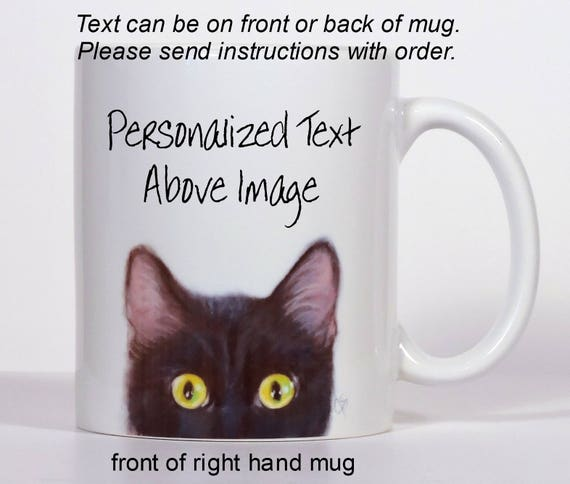 Cat Cat Mug Black Cat Mug Add Text of Your Choice