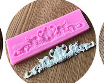 Flourish Scrolls Silicone Mold - XL318 - Baking Fondant Happy Birthday Party Wedding Cake Bridal Baby Shower