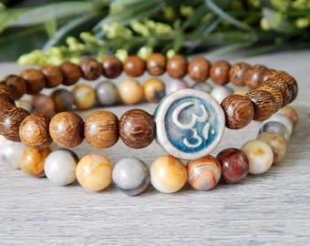 Om Bracelet, Yoga Bracelet, Yoga Jewlery, Ohm Bracelet, Intention Bracelet, Gemstone Bracelet, Wood Bracelet