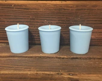 Set of 3 Light Blue Votive Candles  / Highly Scented / Over 75 Scents
