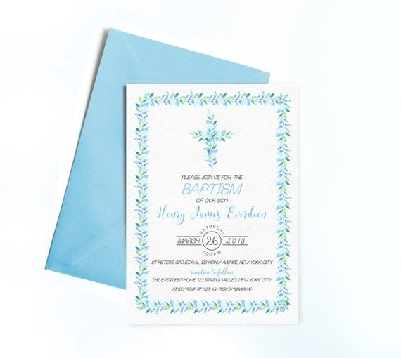 Baptism Invitation Printable Christening