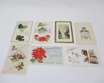 Antique Christmas Postcards, 1900's, Lot of 7
