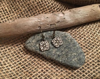 Rhinestone Dangle Drop Metal Earrings