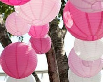 18x 20cm White Pinks Paper Lanterns for Wedding Party Baby Shower 21 Birthday Nursery Home Decoration