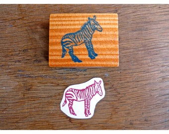 Rubber stamp zebra engraved by hand