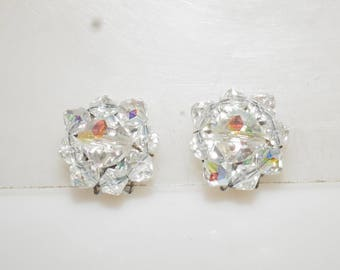 Vintage Aurora Borealis Glass Crystal Cluster Clip on Earrings 7/8""