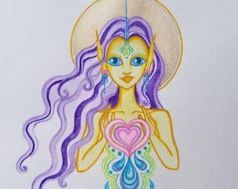 Galactic Elf Space Fairy Healer Original Watercolor Visionary Art Painting