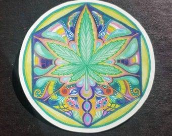 Psychedelic Ganja Rainbow Mandala Sticker