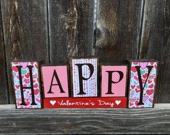 Happy Valentine's Day wood blocks-Valentine decor, Valentine's Day blocks