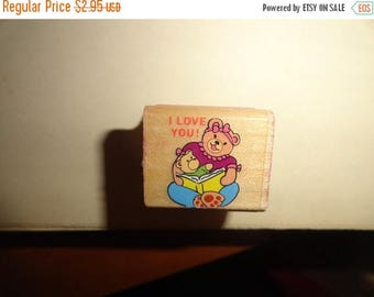 50% OFF 1994 I love you bear stamp 1 in by 1 inch Vintage Wooden rubber stamp