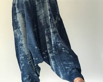 TD0067 Indigo Harem pants  Handmade pants, tiedye Thick Smock Waist Low Crotch, Women Yoga Harem Pants  - elastic waistband and cuffs - Fits
