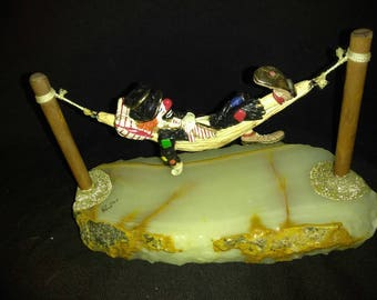 Vintage Ron Lee signed ,1985 Hobo on hammock with marble base