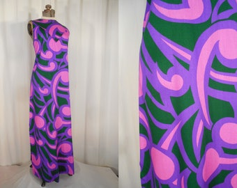 Vintage 1960s Maxi Dress - 60s Large Sleeveless Summer Dress, Psychedelic Cotton Dress