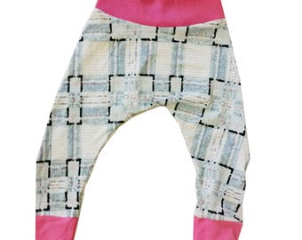 Pink and Blue Plaid Harem Pants, Baby and Kids Harem Pant Leggings