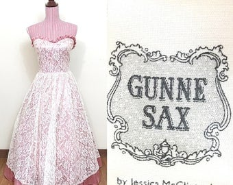 1980s Prom Dress / Vintage / Gunne Sax / Jessica McClintock / Lace / Satin