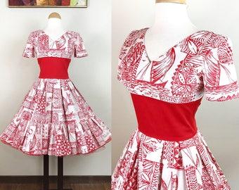 Vintage 1950s Dress / Novelty print dress / Tiki print / Red and white