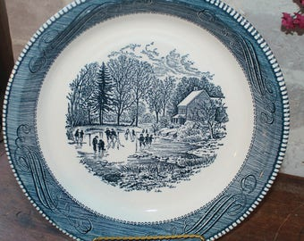 Currier and Ives 10 inch pie plate dish or pan, Royal China Jeannette blue transfer ware dinnerware Early Winter for your Farmhouse kitchen