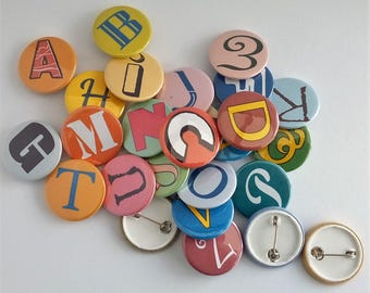 Alphabet pin badge A to Z letters alphabet badge letter pin alphabetical button pin