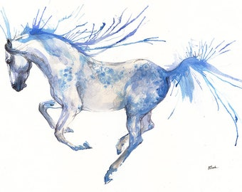 Andalusian horse, equine art, equestrian, cheval, horse portrait, original watercolor painting