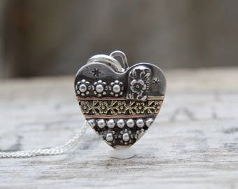 Soldered Small Sterling Silver Heart Rustic Necklace. Brass Wire . Rustic  . Relics . Stamped