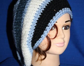 very warm blue white beret and simple black