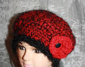 fancy beret, very warm, Heather red and black