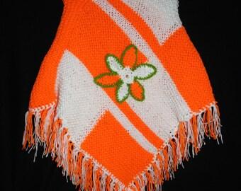 4 to 6 years child poncho orange and white