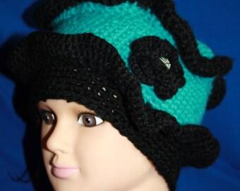 crochet Hat original and elegant turquoie and black