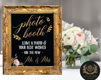 Photo Booth - Leave a Photo and your Best Wishes for the New Mr. and Mrs.  (4 STYLES) DIGITAL PRINT • Photo Booth Chalkboard Sign