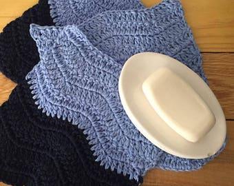 Set of 3 Crochet Dishcloth, Crochet Washcloth, Navy Blue, Cornflower Blue, 100% Cotton