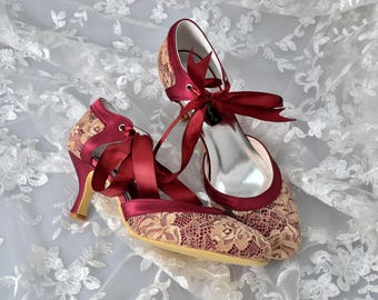 Custom handmade vintage gold lace burgundy red satin bow tie front low heel bridal wedding ankle mary jane dorsay court
