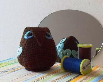 Handmade Owl Pincushion Felted Wool Brown & Blue Hearts Pincushion
