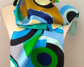 Silk Designer Abstract ECHO Scarf LONG 11x53.5 STUNNING Blue Green Black